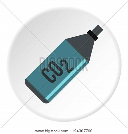 CO2 bottle icon in flat circle isolated vector illustration for web
