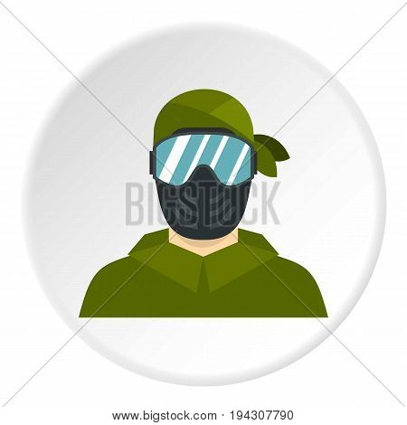Paintball player icon in flat circle isolated vector illustration for web
