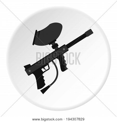 Paintball marker gun icon in flat circle isolated vector illustration for web
