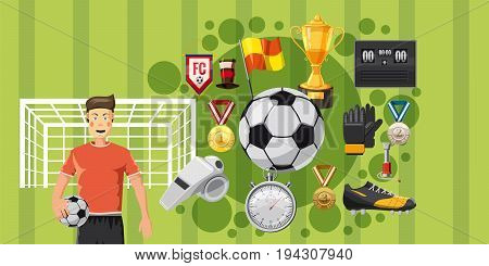Soccer play horizontal concept. Cartoon illustration of soccer play banner horizontal vector for web