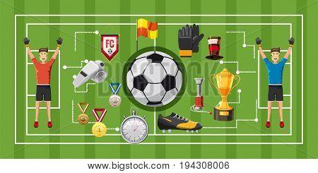 Soccer game football horizontal concept. Cartoon illustration of soccer game banner horizontal vector for web