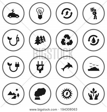 Set Of 16 Bio Icons Set.Collection Of Saving, Reforestation, Contamination And Other Elements.
