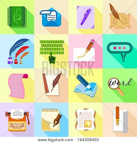 Write letter icons set. Flat illustration of 16 write letter icons set vector icons for web