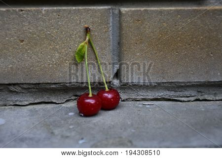 Red cherries, ripe, berries, beautiful, juicy, useful, vitamins, nature, plants, background, foreground, composition, tasty, sour, food,