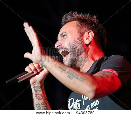 Marostica, Vi, Italy - July 7, 2017: Live Concert Of Nek An Italian Singer-songwriter