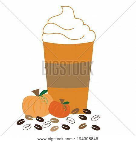 Pumpkin Coffee with Whipped Cream and Coffee Beans