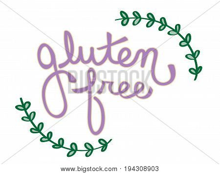 Isolated Gluten Free Lettering on White Background