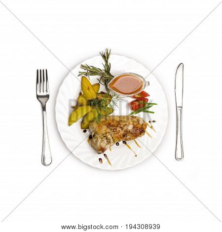 juicy tender pork on a bone laid with a roll. The satiety of the dish will betray the frit potatoes, the sauce will betray a burning note isolated