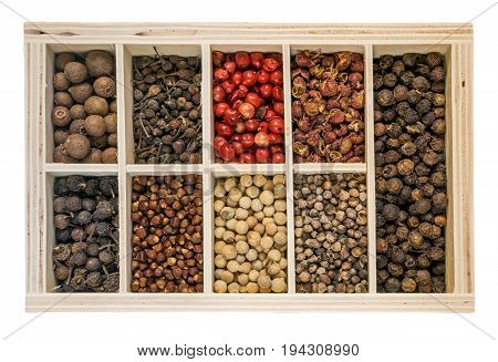 Pepper Seeds Set or Pepper Corns Collection in Wooden Box Isolated on White Background