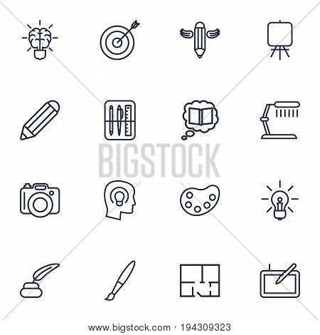 Set Of 16 Constructive Outline Icons Set.Collection Of Pencil, Inkwell With Pen, Graphic Tablet And Other Elements.