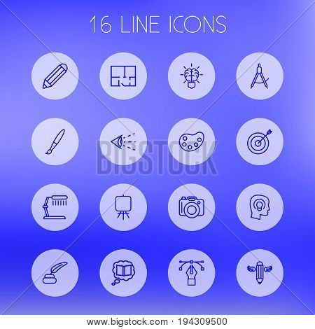 Set Of 16 Constructive Outline Icons Set.Collection Of Dslr Camera, Dividers, Concept And Other Elements.