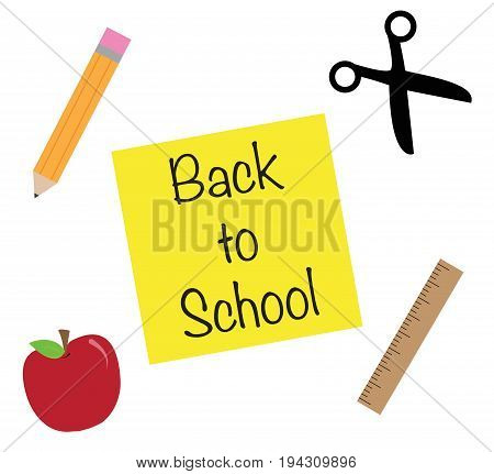 Happy Back to School Icons Apple Scissors