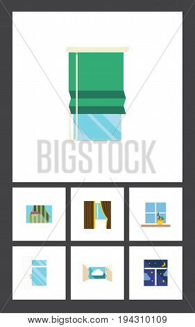 Flat Icon Window Set Of Balcony, Glass, Frame And Other Vector Objects. Also Includes Flower, Glass, Cloud Elements.