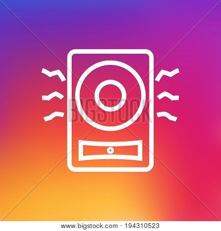 Isolated Loudspeaker Outline Symbol On Clean Background. Vector Amplifier  Element In Trendy Style.