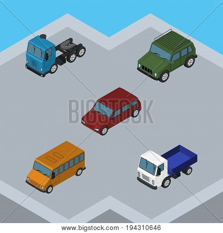 Isometric Automobile Set Of Lorry, Truck, Autobus And Other Vector Objects. Also Includes Truck, Sedan, Armored Elements.