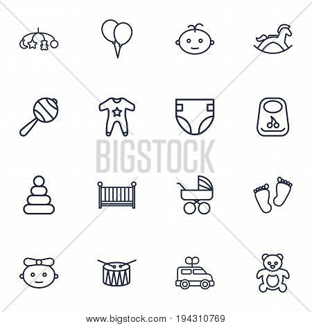 Set Of 16 Child Outline Icons Set.Collection Of Crib, Baby, Footprints And Other Elements.