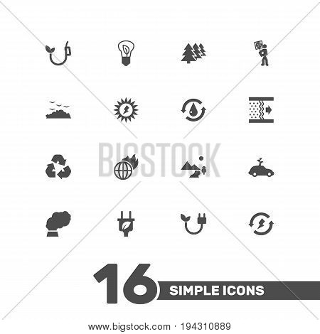 Set Of 16 Atmosphere Icons Set.Collection Of Reforestation, Car, Warm And Other Elements.
