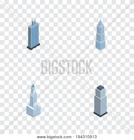 Isometric Building Set Of Exterior, Tower, Business Center And Other Vector Objects. Also Includes Tower, Center, Skyscraper Elements.
