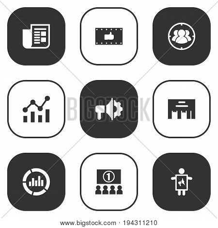 Set Of 9 Advertising Icons Set.Collection Of Inbox, Statistics, Group And Other Elements.