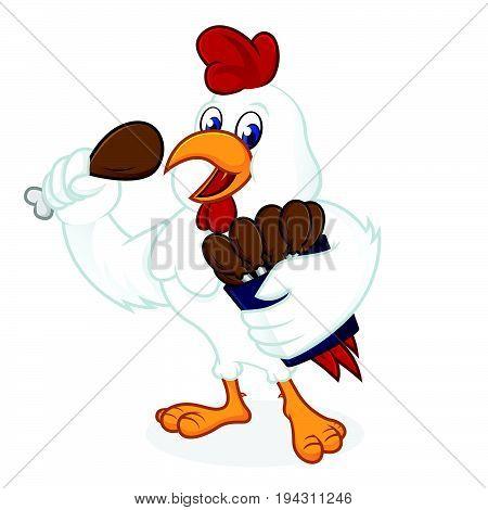Chicken Cartoon Holding Fried Chicken
