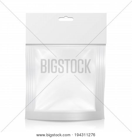 Plastic Pocket Vector Blank. Packing Design. Realistic Mock Up Template Of White Plastic Pocket Bag. Empty Hang Slot. Isolated Illustration