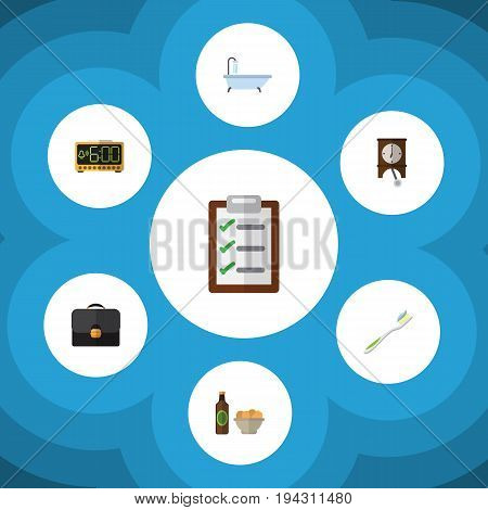 Flat Icon Lifestyle Set Of Briefcase, Electric Alarm, Clock And Other Vector Objects. Also Includes Shower, Pendulum, Watch Elements.