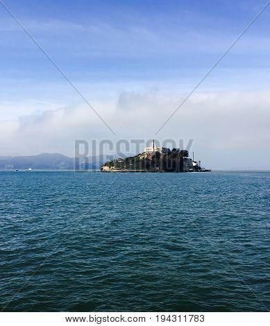 Alcatraz island with blue sky and the sea, San Francisco, California