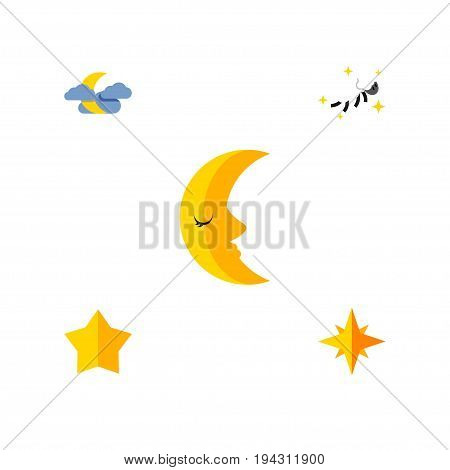 Flat Icon Bedtime Set Of Starlet, Asterisk, Night And Other Vector Objects. Also Includes Asterisk, Nighttime, Lunar Elements.