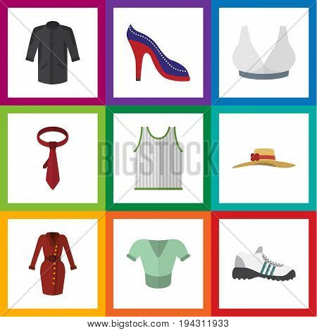 Flat Icon Garment Set Of Cravat, Singlet, Elegant Headgear And Other Vector Objects. Also Includes Blouse, Gumshoes, Hat Elements.