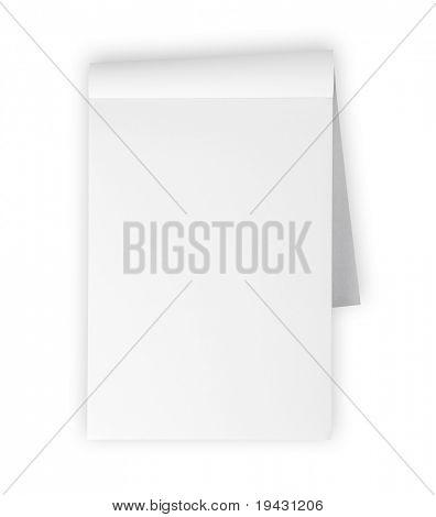 Bloc de notas en blanco aislado en blanco