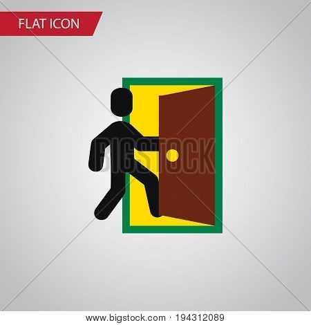 Isolated Open Door Flat Icon. Evacuation Vector Element Can Be Used For Evacuation, Exit, Door Design Concept.