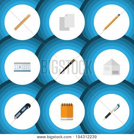 Flat Icon Stationery Set Of Letter, Pencil, Nib Pen And Other Vector Objects. Also Includes Almanac, Write, Calendar Elements.
