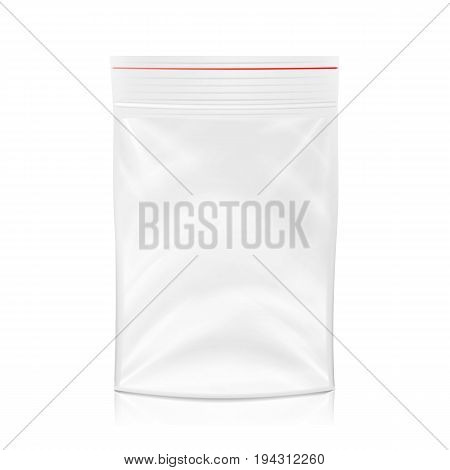 Plastic Polyethylene Pocket Bag Vector Blank. Realistic Mock Up Template Of Plastic Pocket Bag With Zipper, Zip lock. Clean Hang Slot, Pouch Packaging. Isolated