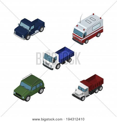 Isometric Transport Set Of First-Aid, Armored, Lorry And Other Vector Objects. Also Includes Suv, Lorry, Aid Elements.