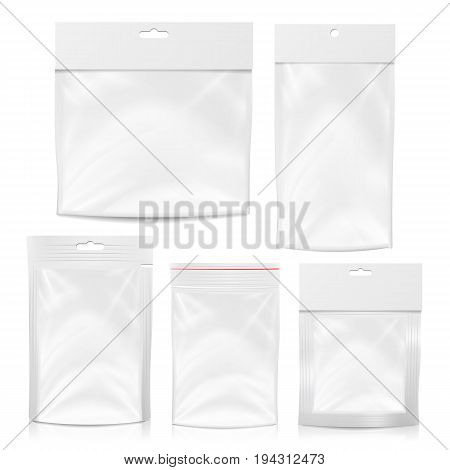 Plastic Pocket Vector Blank. Packing Design. Realistic Mock Up Template Of White Plastic Pocket Bag. Empty Hang Slot. White Clean Doypack Bag Packaging With Corner Spout Lid. Isolated Illustration
