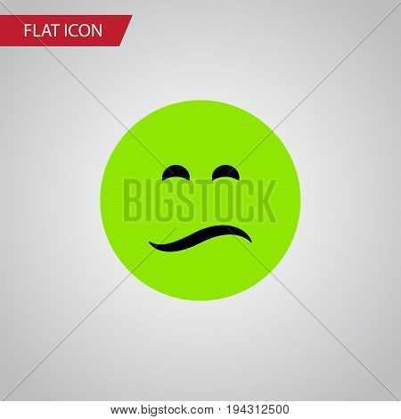 Isolated Sad Flat Icon. Frown Vector Element Can Be Used For Sad, Frown, Emoji Design Concept.