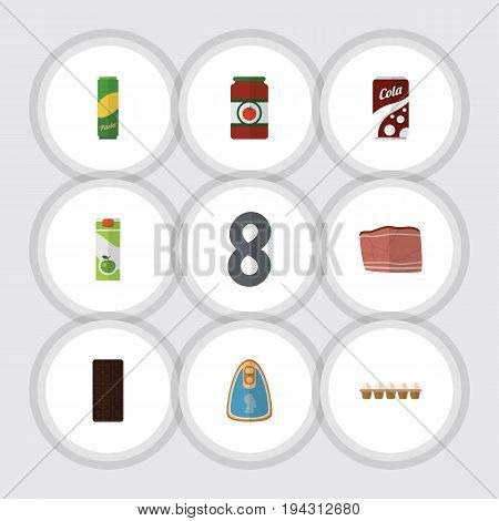 Flat Icon Food Set Of Fizzy Drink, Packet Beverage, Ketchup And Other Vector Objects. Also Includes Fizzy, Sauce, Pasta Elements.