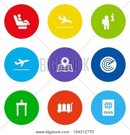 Set Of 9 Plane Icons Set.Collection Of Location, Metal Detector, Letdown And Other Elements.