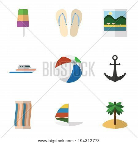 Flat Icon Beach Set Of Beach Sandals , Coconut, Ship Hook Vector Objects. Also Includes Ball, Flop, Surfing Elements.