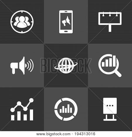 Set Of 9 Advertising Icons Set.Collection Of Bullhorn, World, Monitoring And Other Elements.