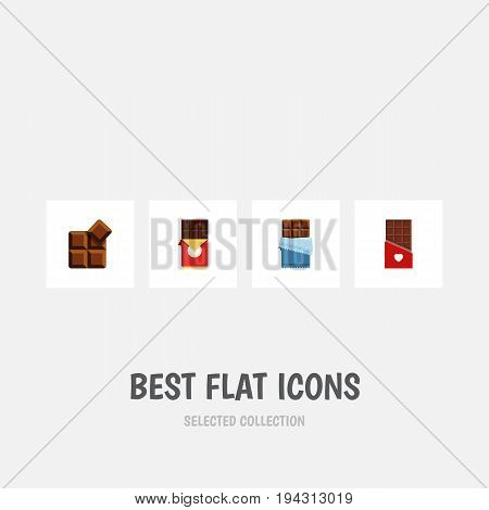 Flat Icon Sweet Set Of Bitter, Chocolate, Cocoa And Other Vector Objects. Also Includes Cocoa, Box, Shaped Elements.