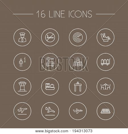 Set Of 16 Aircraft Outline Icons Set.Collection Of Sit, Luggage Check, Flight And Other Elements.