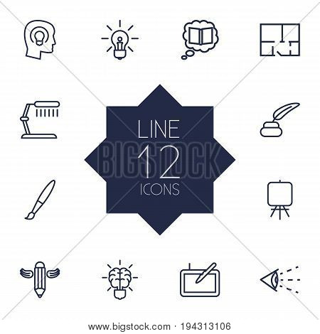 Set Of 12 Creative Outline Icons Set.Collection Of Inkwell With Pen, Knowledge, Idea And Other Elements.