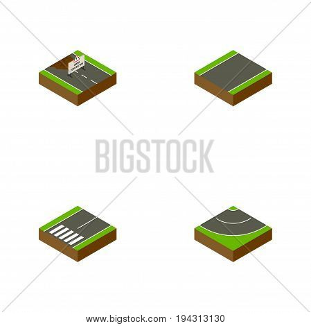 Isometric Way Set Of Unilateral, Footpassenger, Road And Other Vector Objects. Also Includes Unilateral, Repairs, Construction Elements.