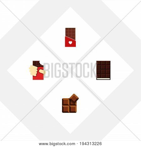 Flat Icon Bitter Set Of Cocoa, Chocolate, Dessert And Other Vector Objects. Also Includes Delicious, Chocolate, Dessert Elements.