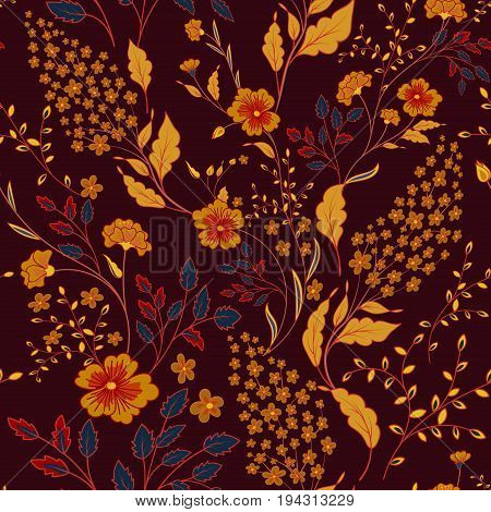 Vector seamless bright colorful gentle hand drawn little ditsy flower pattern. Bright orange blue floral allover print on dark vinous background