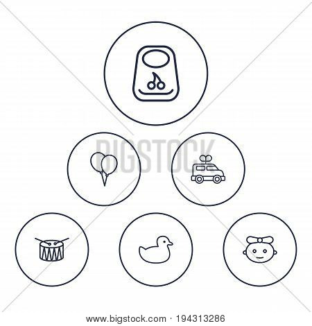 Set Of 6 Child Outline Icons Set.Collection Of Bib, Baby, Drum And Other Elements.