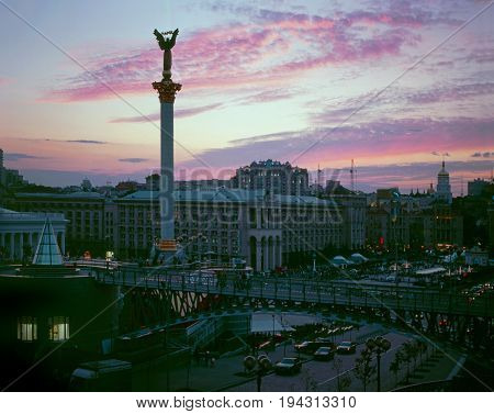 Maidan Nezalezhnosti square against pink sky background.