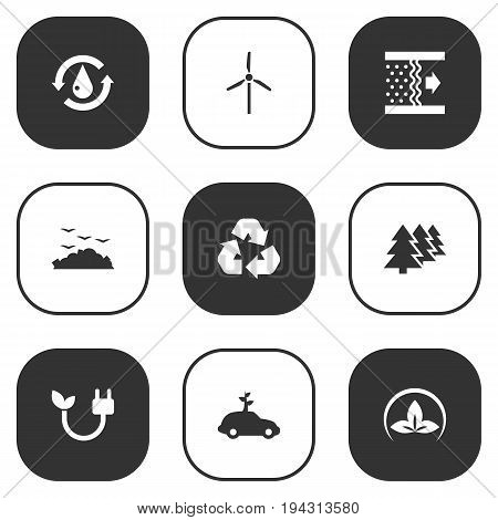 Set Of 9 Bio Icons Set.Collection Of Energy, Cleaning, Purification And Other Elements.