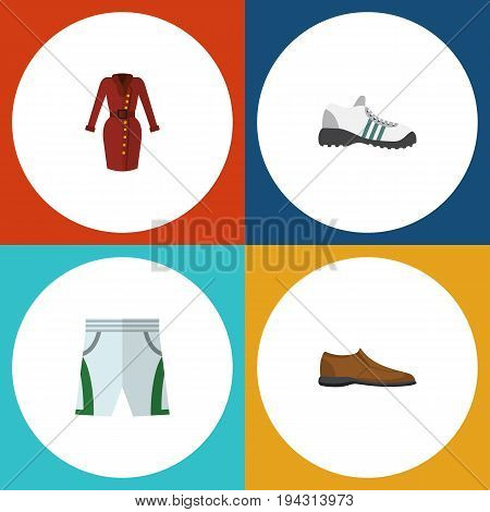 Flat Icon Clothes Set Of Clothes, Sneakers, Male Footware And Other Vector Objects. Also Includes Footware, Shoe, Gumshoes Elements.